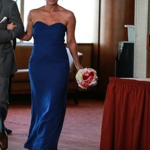 Alfred Angelo Cobalt Blue long chiffon gown